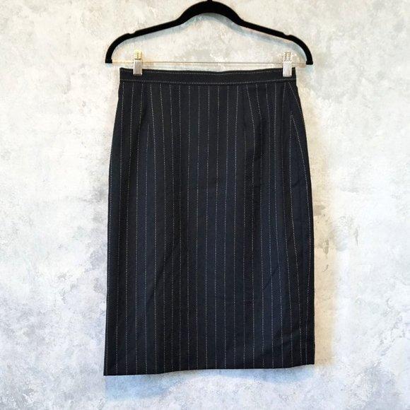 Escada Navy Blue Wool High Waist Pencil Skirt